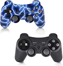 PS3 Controller 2 Pack Wireless Double Shock Gamepad for Playstation 3, Sixaxis Wireless PS3 Controller with Charging Cable,Compatible with Playstation 3 (B+L)