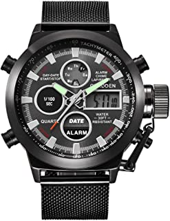 Gift Watch! Wensltd Men's Watch Wrist Dual Time LED Digital Analog Quartz Movt Steel Band (Black)