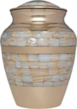 Liliane Memorials Mother of Pearl Bronze Funeral Cremation Urn for Human Ashes Hand Made in Brass - Suitable for Cemetery ...