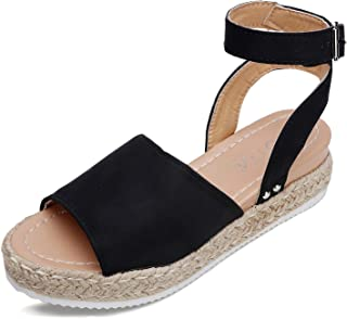 Catata Womens Espadrille Wedges Sandals Boho Open Toed Buckle Strap Platform Shoes