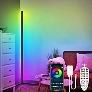 Lampadaire LED RGB Couleur Lampadaire de salon de style minimaliste moderne, lampe de sol d'angle à luminosité réglable av...