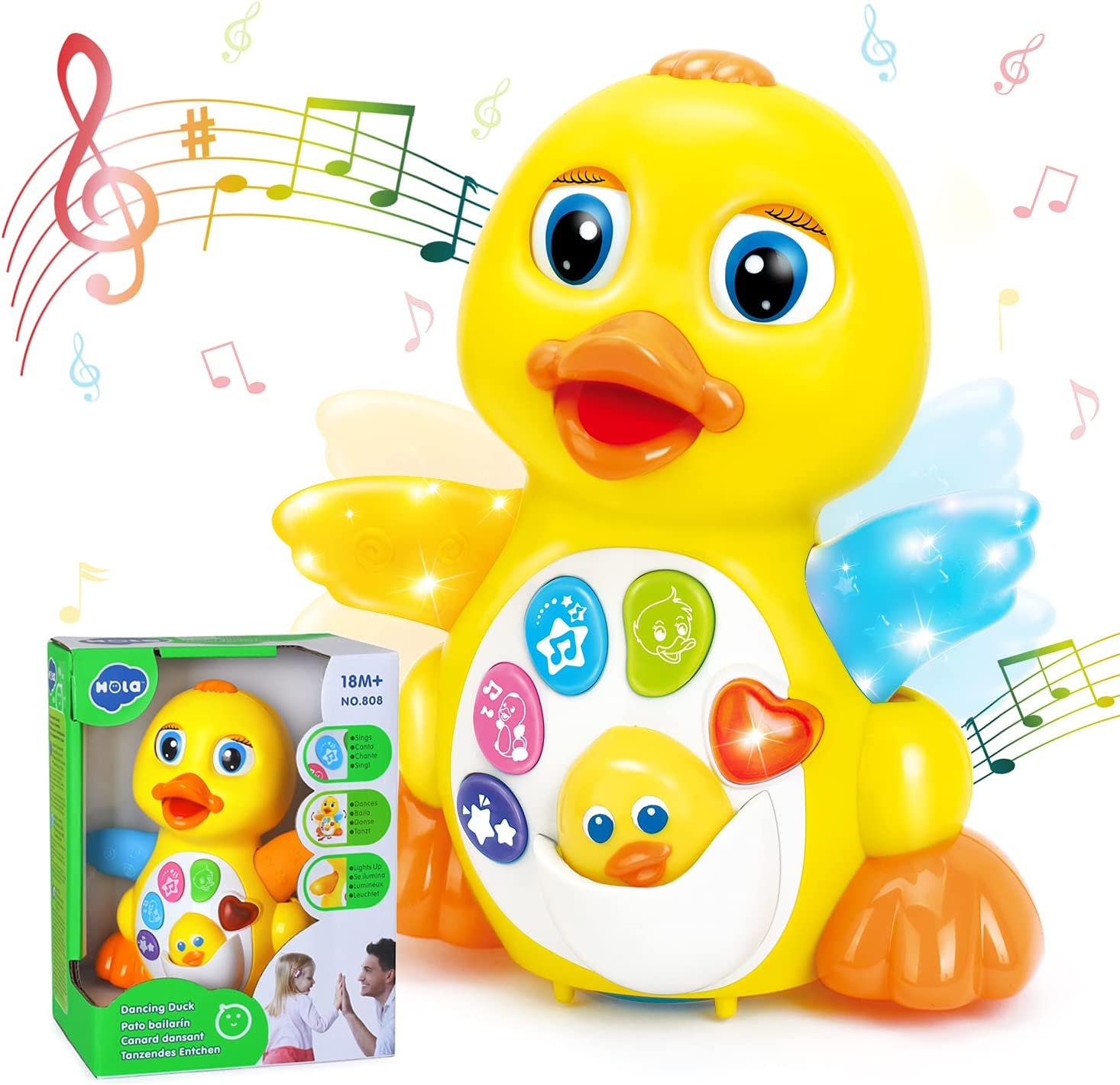 HOLA Dancing Walking Yellow Duck Interactive Action Learning Educational Light Up Musical Toy for 1 Year Old Baby Kids Boy Girl Todder Infant