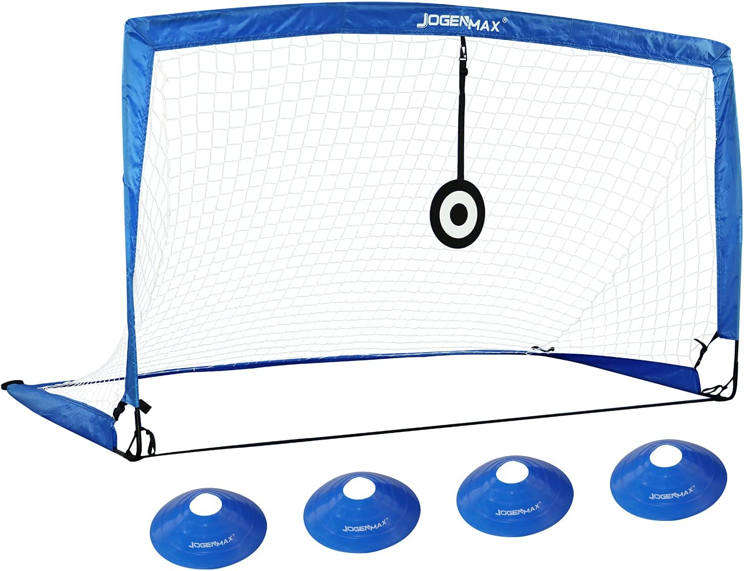 JOGENMAX Portable Soccer Goal, Pop-Up Soccer Goal Net with Aim Target, 1PCS, with Agility Training Cones, Indoor or Outdoor Soccer Goal Gift for Teen Boy Kids Adults Size 6'X3'X3'