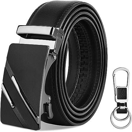 "VBIGER Mens Belt Leather Belt for Men Black Automatic Buckle Adjustable Ratchet Belts for Jeans & Suits (120cm: Directly Suitable for Waist Size: 39""-46""; Trim to Fit Waist Size: 28""-38"")"