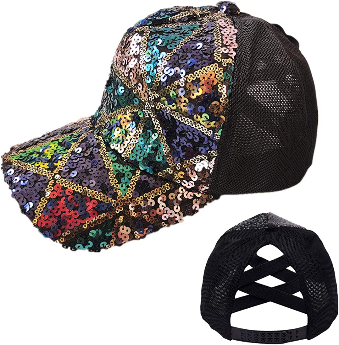 Washed Distressed Ponytail Hat New arrival for Max 74% OFF Cross Criss Messy Women B