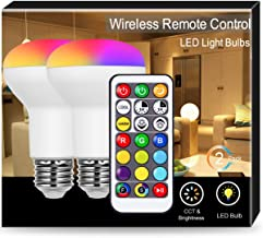 JandCase 8W BR20 LED Bulbs, RGB+Warm+Cool White, Color Changing Light with Remote Control, 50W Equivalent, 550lm, R63 Dimmable Flood Light Bulb for Home/Office, Recessed Lighting, E26 Base, 2 Pack
