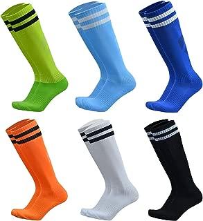 VWU Unisex Knee High Double Stripes Athletic Soccer Football Tube Socks for Adults&Children