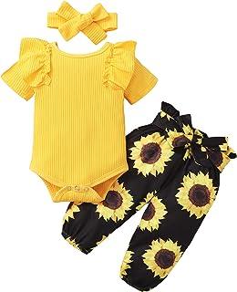 ZOEREA Baby Mädchen Kleidung Set Rüschen Schulter Langarm Body Strampler  Blumen Hose  Bogen Stirnband Neugeborene Kleinkinder Babykleidung Outfits Set