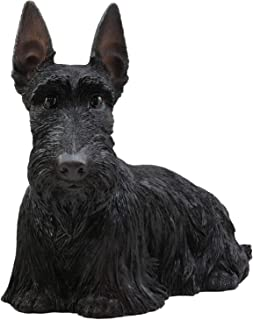 Blue Bright Terrier Statue Dog Figurine Large Lifelike Black Long Hair Sitting 12 inch Tall Scottish Highlands Scottie Decor