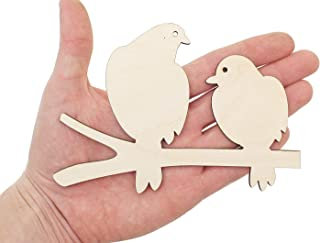 Waaa Wooden Birds on Tree Branch Cutout 15cm Shape Wood Bird Dove Cutout Craft Decoration Gift Decoupage Ornament