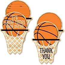 Big Dot of Happiness Nothin' but Net - Basketball - 20 Shaped Fill-in Invitations and 20 Shaped Thank You Cards Kit - Baby Shower or Birthday Party Stationery Kit - 40 Pack