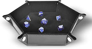 Folding Hexagon Dice Tray PU Leather and Black Velvet for dice Rolling Games Like DND D&D by RNK Gaming