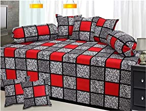 Hargunz Attractive Look 144TC Glace Cotton Diwan Set-Set of 8
