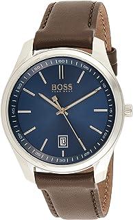 Hugo Boss Brown Mens Quartz Watch, Analog Display and Leather Strap 1513728