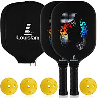 Louislam Pickleball Paddle Set of 2 Graphite Pickleball Racket Honeycomb Composite Core Ultra Cushion 4.25In Grip Pickleball Racquet 7.8 OZ with 2Cover USAPA Approved