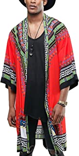 Mens African Dashiki Printed Ruffle Shawl Collar Cardigan Lightweight Long Length Drape Cape
