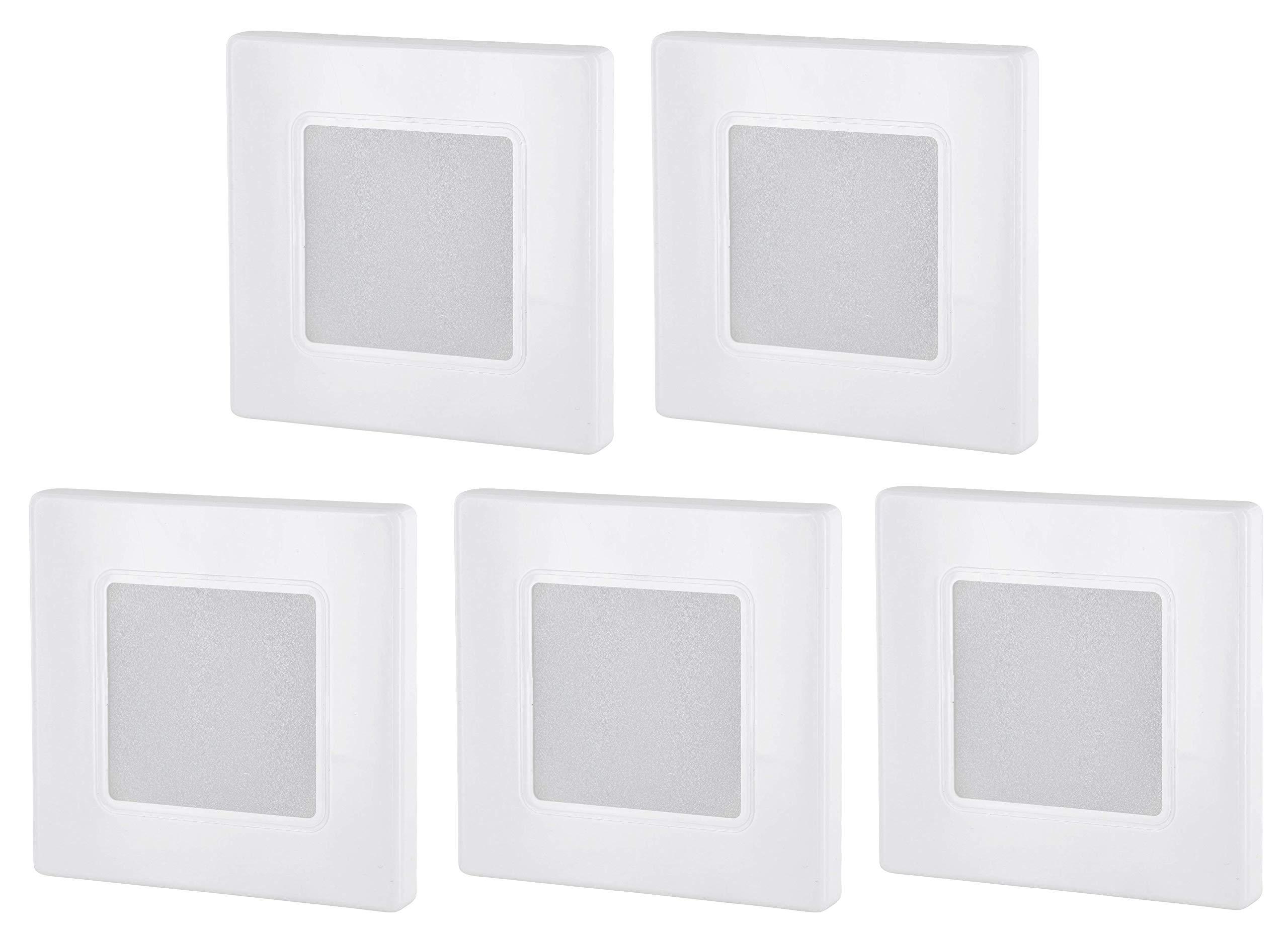 Light Design Dreesbach - Lote de 5 focos led empotrables (230 V, cuadrados, para caja de interruptores de 60 mm, transformador LED integrado, luz blanca cálida, 3000 K): Amazon.es: Iluminación