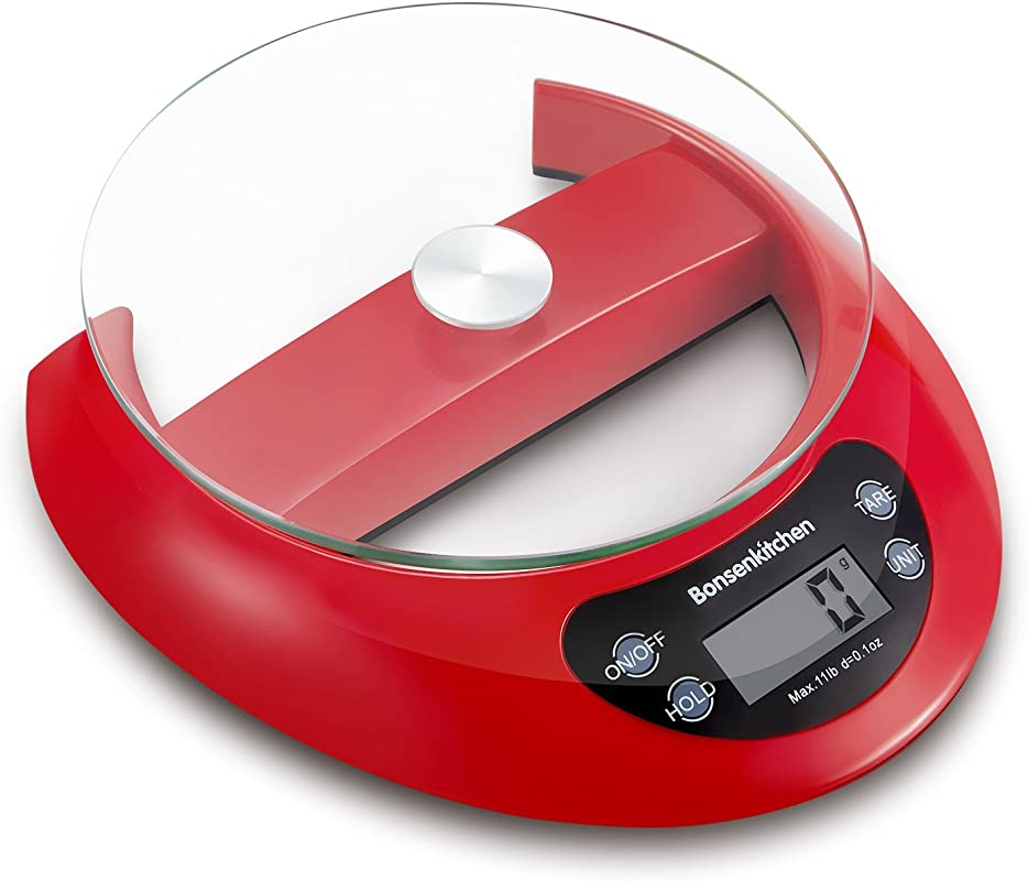 Bonsenkitchen Food Weight Scales Digital Kitchen Scale For Cooking And Baking Red