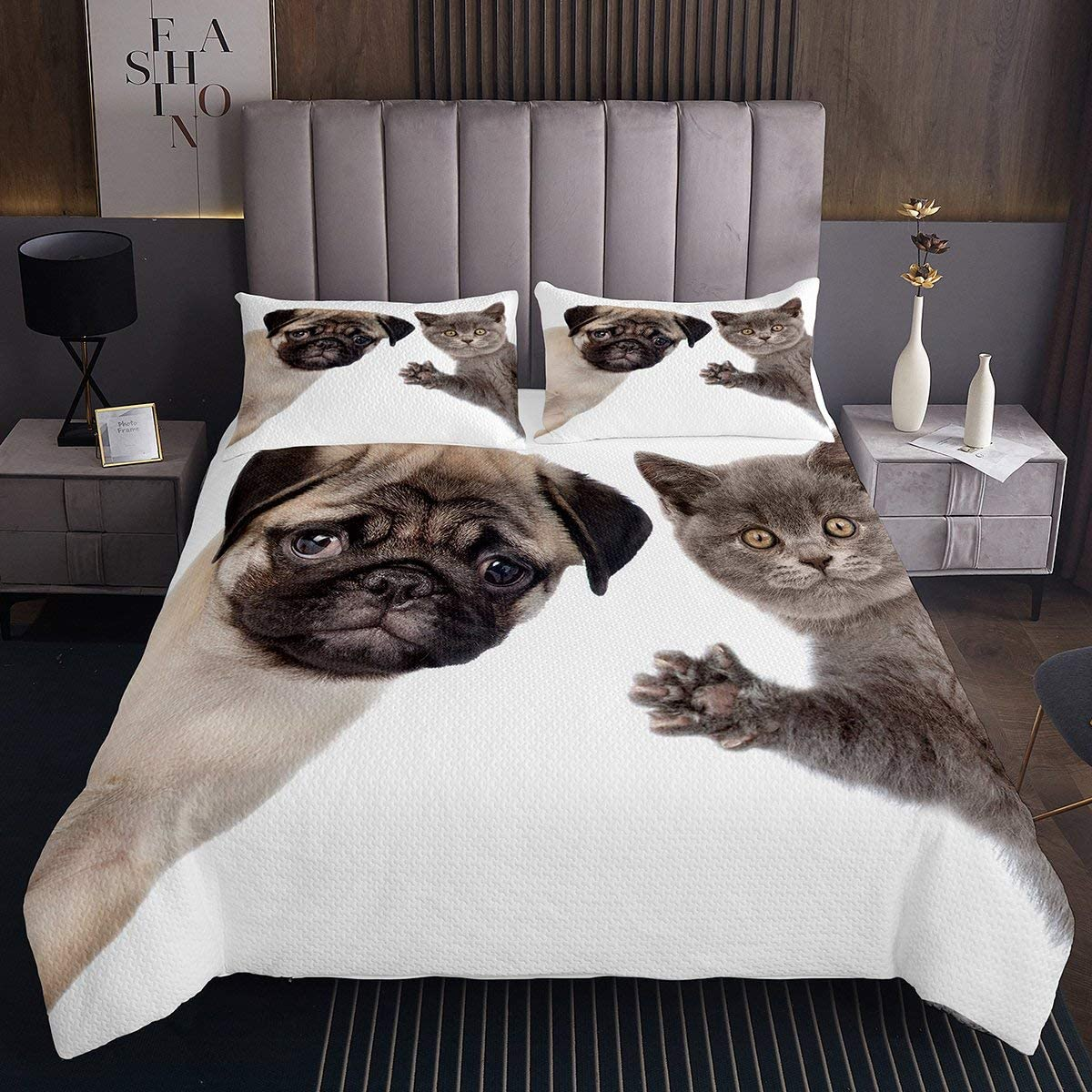 Feelyou 3D shopping Dog New color Printed Bedspread for Kids Coverlet Cute Pug
