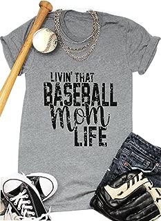 Women Livin'That Baseball Mom Life T Shirt Short Sleeve Tops Tee