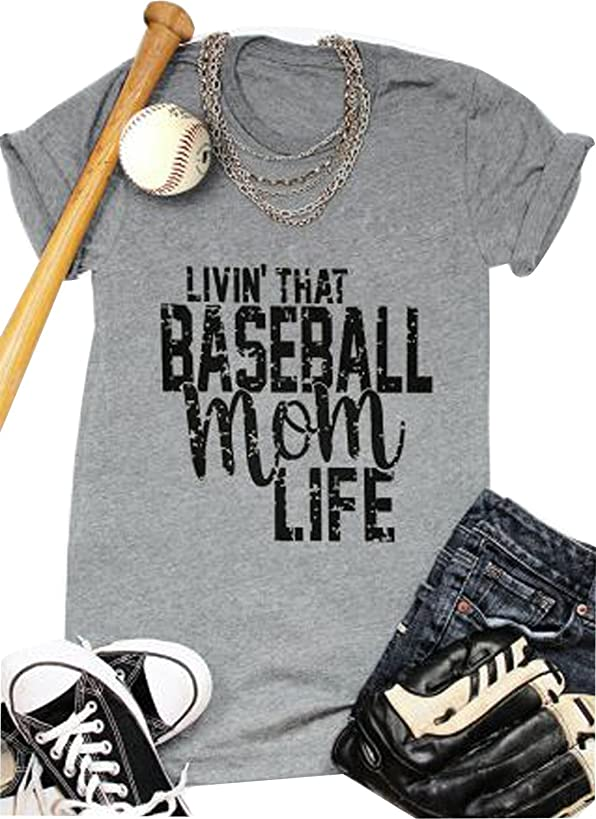 LONBANSTR Women Livin'That Baseball Mom Life T Shirt Short Sleeve Tops Tee