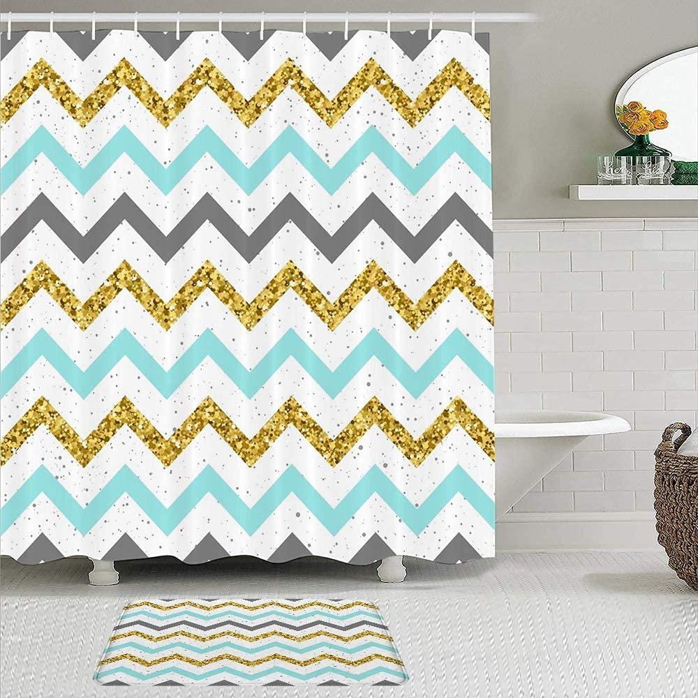 Shower Recommended All stores are sold Curtain Bath Mat Set of Abstract Party Chevron 2 Birthday