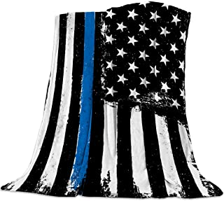 Homey Room Cozy Flannel Blanket for Couch/Bed/Travel 40 x 50 Inches, Thin Blue Line USA Flag Art Print - Luxury Soft Warm ...