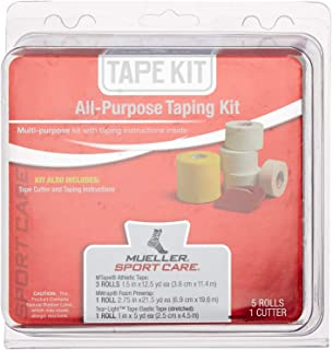 Mueller All-Purpose Taping Kit | Includes 3 Rolls Athletic Tape, 1 Roll Foam Prewrap, 1 Roll Tear-Light Tape, 1 Tape Cutter