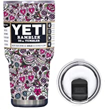 YETI Coolers 30 Ounce (30oz) (30 oz) Custom Rambler Tumbler Cup Mug Bundle with New Magslider Lid (Dipped Pink Sugar Skull)