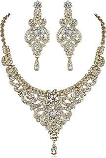 Janefashions Sexy Vine Austrian Rhinestone Crystal Necklace Earrings Set Bridal N817g Gold