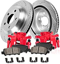 CCK12538 REAR Powder Coated Red [2] Calipers + [2] 5 Lug Rotors + Quiet Low Dust [4] Ceramic Pads Premium Kit [ S197 ]