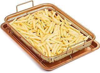 BESTHINKY - Bandeja de cobre para horno, antiadherente, 2 piezas, bandeja y cesta de malla para pollo, patatas fritas, anillos de cebolla A