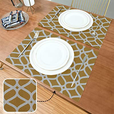 Amazon Com Yngxil Girl Placemat Giraffe Repeating Brown White 12x18 Inch Coffee Mats For Tables Set Of 6 Double Fabric Printing Cotton Linen For Kitchen Table Home Kitchen
