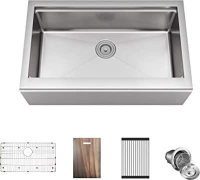 MR Direct 405-LEDGE Apron Workstation Sink 18-Gauge Single Bowl, Stainless Steel