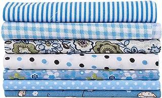 HERCHR Lot de 7 Tissu Patchwork 50x50, Tissus Coton de Série de Fleurs Bleues pour DIY Bricolage Artisanat Couture Vêtemen...