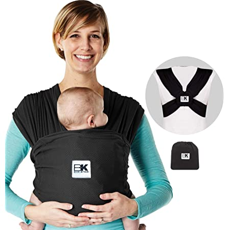 Baby K'tan Breeze Baby Wrap Carrier, Infant and Child Sling - Simple Pre-Wrapped Holder for Babywearing - No Tying or Rings - Carry Newborn up to 35 lbs, Black, Large(W Dress 16-20 / M Jacket 43-46)