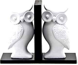 2-Pc Owl Wooden Bookend Set Black and White