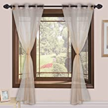Homefab India 2 Piece Sheer Strips Door Curtain - 7 ft, Beige