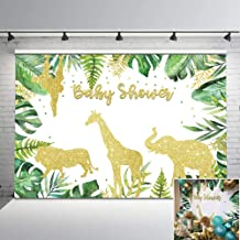 Mehofoto Gold Safari Baby Shower Gold Animal Watercolor Jungle Leaves Photography Backdrop 7x5ft Baby Shower Party Decorations Background for Children