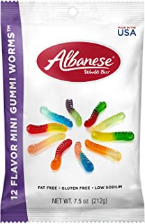 Albanese Candy, 12 Flavor Mini Gummi Worms, 7.5-Ounce Bag, Pack of 12