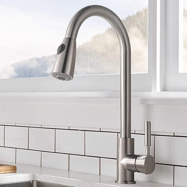 Comllen 商用单柄高弧拉丝镍拉拔厨房水龙头单层不锈钢厨房水槽水龙头带下拉喷雾器无台板