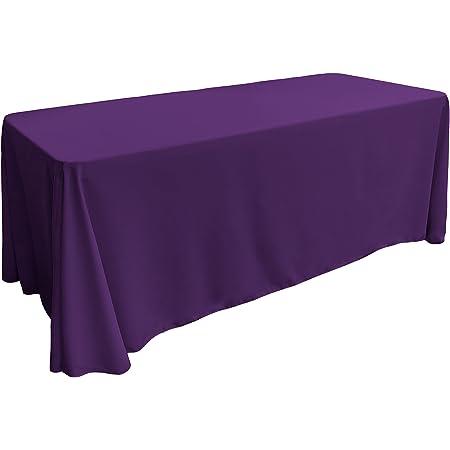 Amazon Com La Linen Polyester Poplin Rectangular Tablecloth 90 X 132 Purple Home Kitchen