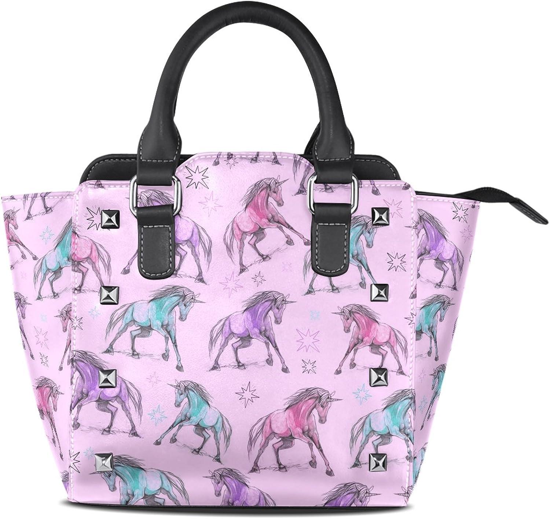 Sunlome Hand Draw Unicorns Print Handbags Women's PU Leather Top-Handle Shoulder Bags