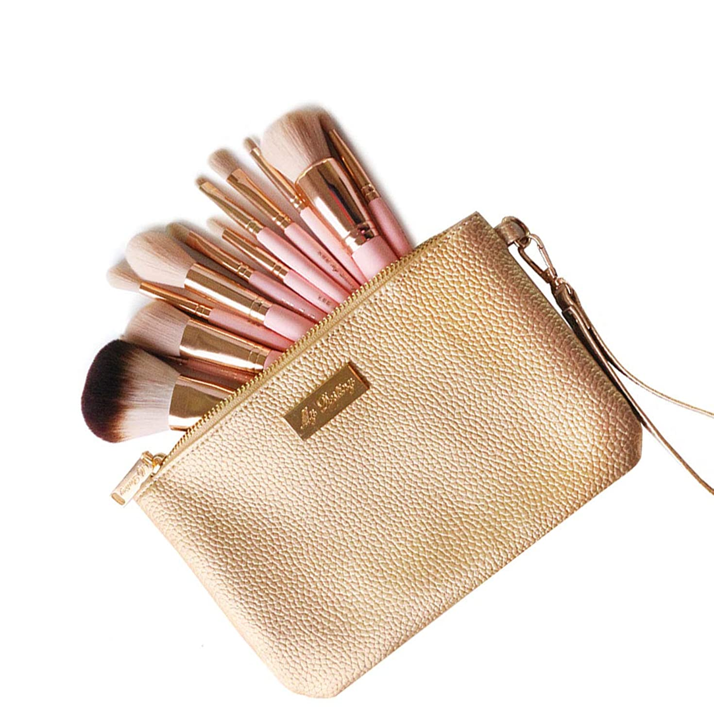 大胆なトランペット無効にする高級化粧ブラシセット 12本セット 超柔らかい メイクブラシセット 人気 化粧道具セット-化粧ポーチ 機能的