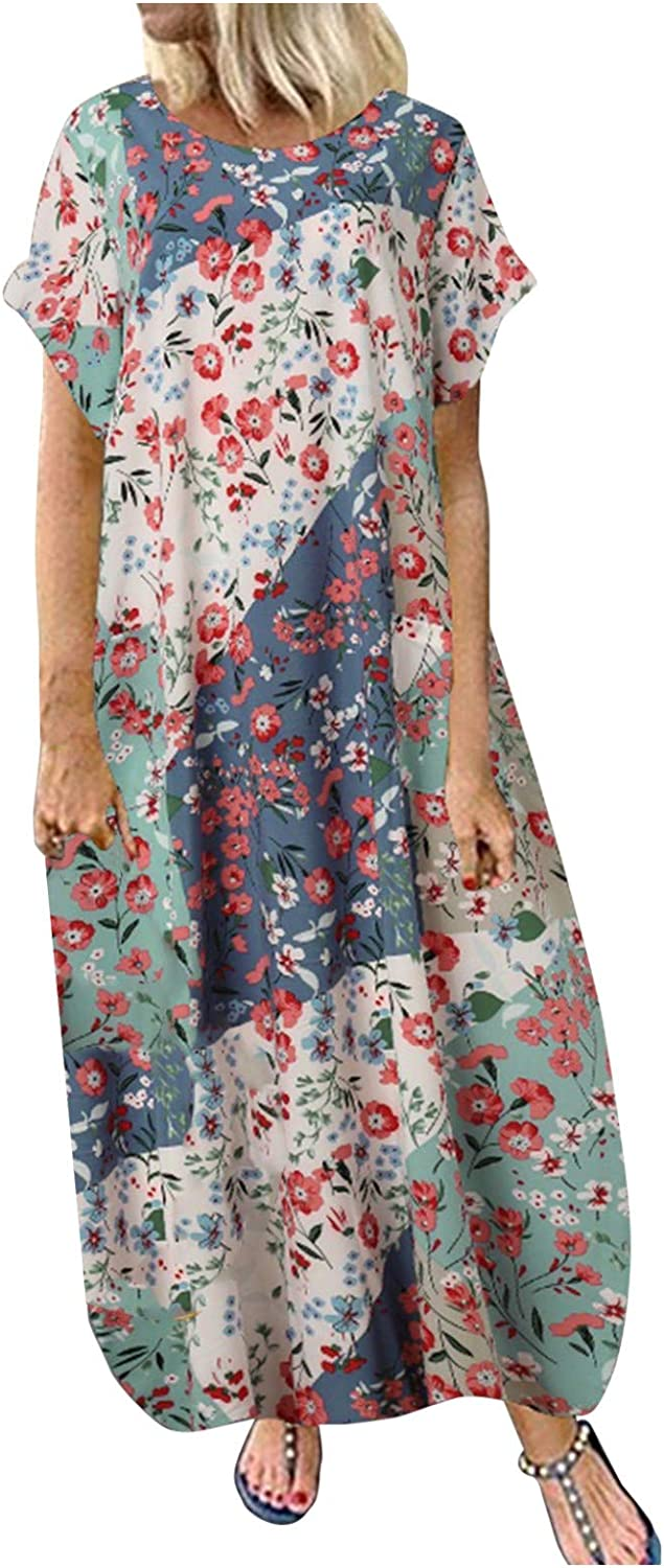 Dresses for Women Casual, Women Summer Short Sleeve Vintage Floral Printed Cami Beach Dress Casual Maxi Dress