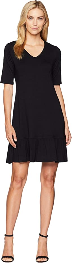 V-Neck Ruffle Hem Dress