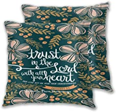 AW-KOCP 2 Packs Christian Bible Verses Decorative Throw Pillow Covers for Couch Pillows, Many Pattern & Size Options