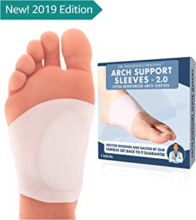 Dr. Frederick's Original Arch Support Sleeves 2.0 - Doctor Developed Flat Foot Arch Supports - 2 Pieces - Small/Medium