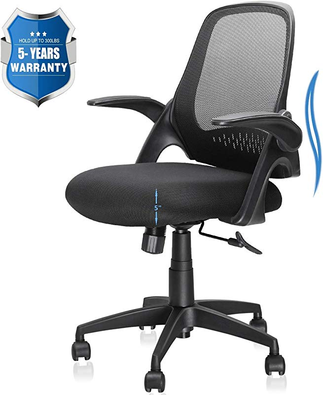 Office Chair Computer Desk Chair With Ergonomic Back Support And Thick Cushion Mid Back Task Chairs With Flip Up Arms Hold Up To 300LBS 5 Years Warranty Mid Back Black
