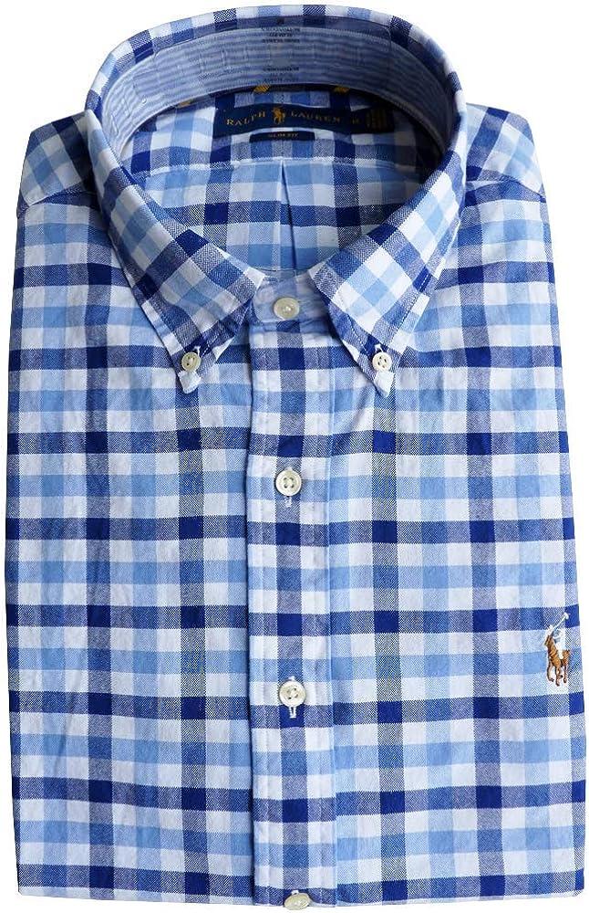 Ralph Lauren Hombre Slim Fit Camisa (Azul a Cuadros, L ...